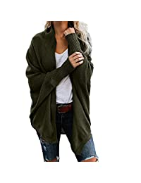 Pervobs Womens Knitted Cardigan Sweater Loose Long Sleeve Swing Tunic Sweater Coat