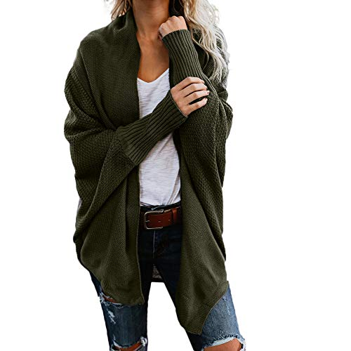 NREALY Women's Off The Shoulder Sweater Casual Knitted Loose Long Sleeve Pullover(Free, Green) ()