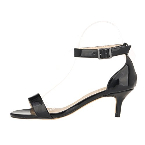ZriEy Women Sexy Open Toe Ankle Straps Low Heel Sandals Black Size 8 by ZriEy (Image #1)