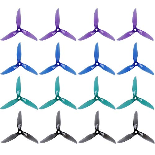 """DALPROP T5043C Pro Cyclone Tri-Blade Propeller 5"""" CW/CCW 5043 Prop for FPV Racing Quadcopter Frame Kit (4sets, Mix Color)"""