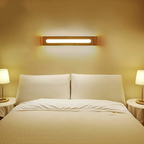 Great St. DGF LED Solid Wood Wall Lamp, Four Sizes are Optional, Acrylic Lampshade, White Light/Warm Light/Three-Color Dimming, Bedroom Living Room Decorative Light (Size : 50cm-B) by Great St.