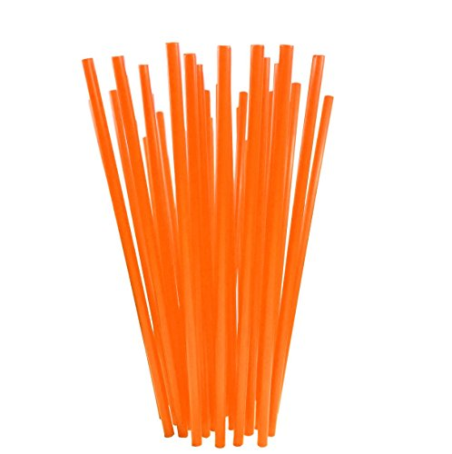 BAR-TY TIME! (250 Count) 7.75 Inch BPA-Free Plastic Drinking Straws (ORANGE)