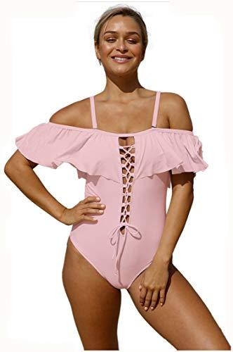 Bellissimo Donna Xiaochou Bikini Vita Rosa Spalline Basso Da Openwork Taglio Decorativo Costume Sexy A Intero Tinta Unita E Con sl Alta wIArnI7qH