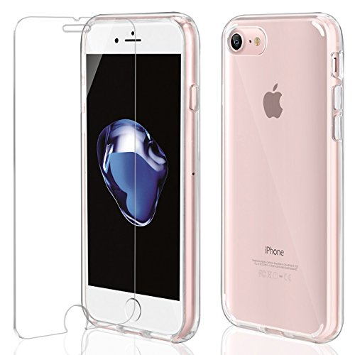 Funda iPhone 7 / 8 + Cristal Protector de pantalla ,ivencase Transparente PC Silicona [Funda + Vidrio Templado] Ultra Fino...