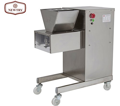 NEWTRY Vertical QV 800KG/H Stainless Steel Meat Slicer Cantilever Double Hob Meat Cutter Cutting Machine Food Processing Equipment (380V)
