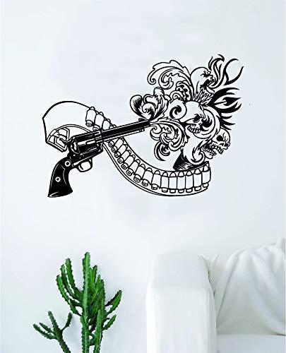 (Boop Decals Gun Blast Skulls Wall Decal Sticker Vinyl Art Bedroom Living Room Decor Decoration Teen Boy Girl Cool Beautiful)