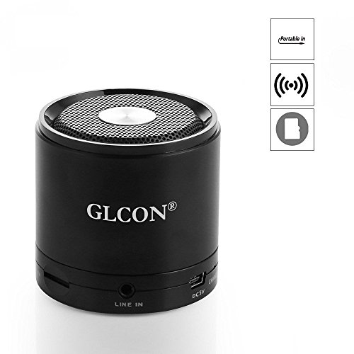 Metal Portable Bluetooth Speakers,Mini Stereo Wireless Speakers with TF/Micro SD Card Slot,Built-in Mic,Aux Jack,Good Bass,for iPhone iPad iPod Galaxy MP3 Players Computer Cell Phone GLCON GS-M7 Black (Powered External Speakers)