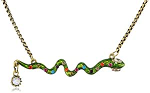 "Betsey Johnson ""St. Barts"" Snake and Crystal Necklace, 19"""