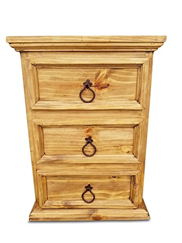 Rustic Nightstand Three Drawers No Assembly Required