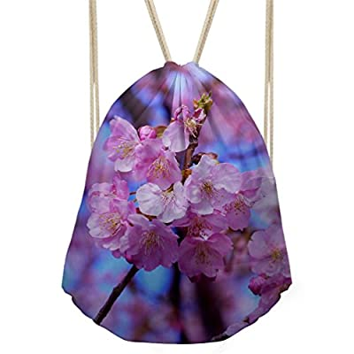 80%OFF Advocator Drawstring Gym Bag for Women Floral Leaf Print String Bags for School