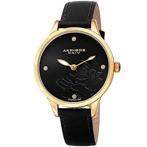 Black Dial Diamond Gold (Akribos XXIV Women's Diamond Accented Flower Engraved Dial Gold & Black Leather Strap Watch - Packed in a Beautiful Gift Box, Perfect for Mothers Day - AK1047BK)
