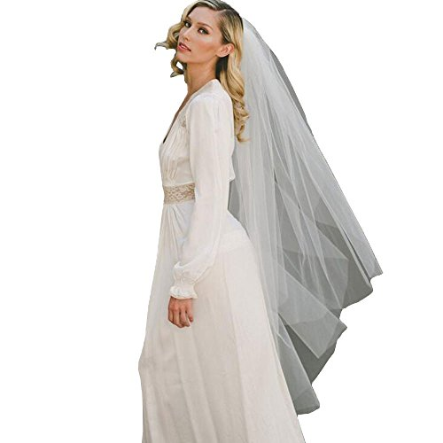 Women's 2T Mid Length Tulle Veils for Bridal Wedding Dress Ivory 3
