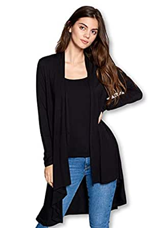 ReneeC. Women's Natural Bamboo Solid Open Front Draped Cardigan - Made in USA (Small, Black)