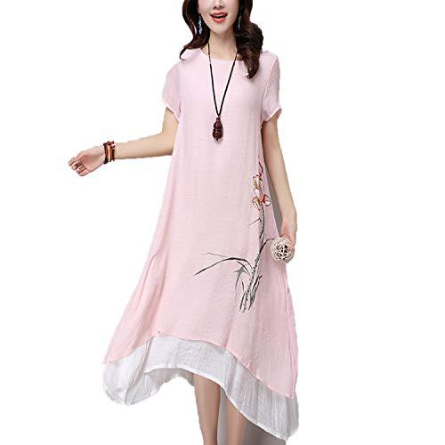 Cotton Linen Vintage Floral Print Women Casual Loose Long Summer Dress Elegant Clothes Dresses Pink
