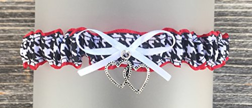 Black And White Photo Charm - Sexy HOUNDSTOOTH Toss GARTER Black White Crimson Red - Double Heart Charm