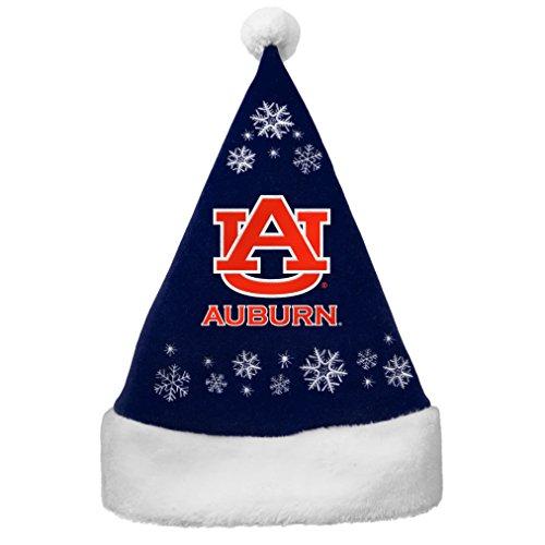 NCAA Auburn Tigers Full Embroidered Snowflake Santa Hat Auburn Santa