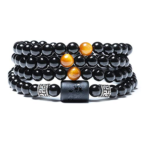 SX Commerce Natural Crystal Obsidian Bead Tibetan Silver Tiger Eye Stone Bracelet Ladies 6mm Men 8mm Multi Circle Phoenix Dragon Totem Jewelry (Dragon) - Phoenix Stone Set