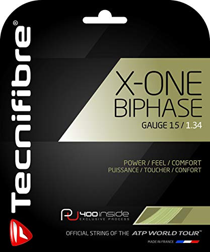 Tecnifibre X-One Biphase - 15 Gauge in Natural Color - Multifilament Tennis Racquet String Sets 2-Pack (2 Sets Per Order) - Best for Power and Comfort ()