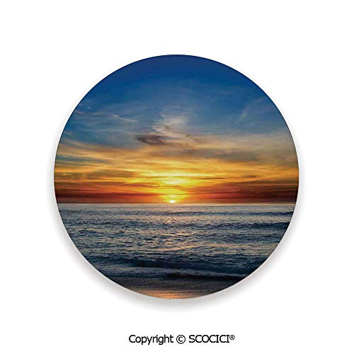 Ceramic Coaster With Cork Mat on the back side, Tabletop Protection for Any Table Type, round coaster,Ocean Decor,Sunset Over the Pacific Ocean From La Jolla,3.9