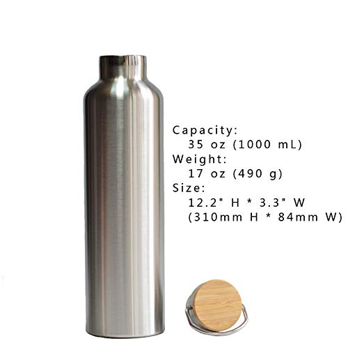 FidgetGear Premium Double Wall Vacuum Insulated Water Bottle Thermos with Bamboo Cap 35 oz (1000 mL) from FidgetGear