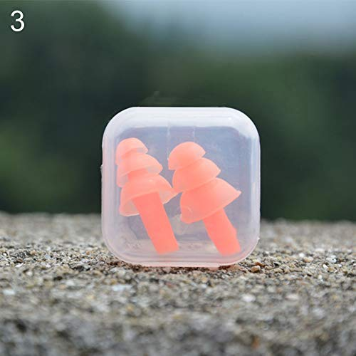 2 Pcs Silicone Ear Plugs Comfortable Anti Noise Snore Study Sleep Earplugs for Sleeping, Snoring, Studying, Loud Events, Traveling and Concerts Noise Reduction Insulation Protection - Orange by hwangli (Image #1)