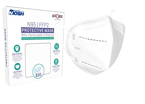 La' Forte Nonwoven Fabric N95 Reusable 5 Layer Masks (White, Without Valve, 6 Piece) for Unisex