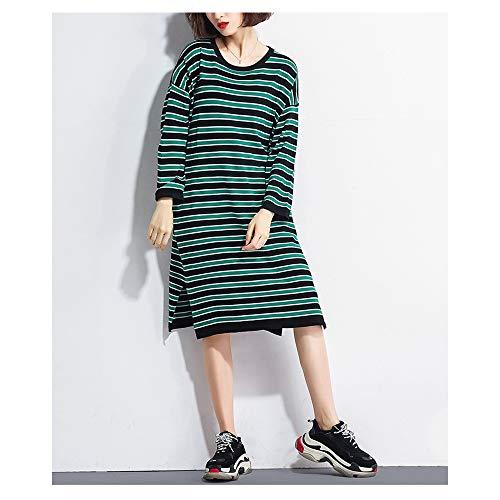 Green lunghe righe a Ju larghe a sheng donna maniche da Abito medie e qpOp7XwPW