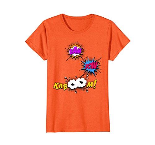 Womens Bam Pow Kaboom Comicon Comic Book Shirt Small Orange -