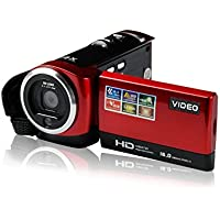 LWD Portable Digital Video Camcorder HD Max. 16.0 Megapixels 1280*720P DV 2.7 Inches TFT LCD Screen 16X Zoom Camera Recorder (Red)