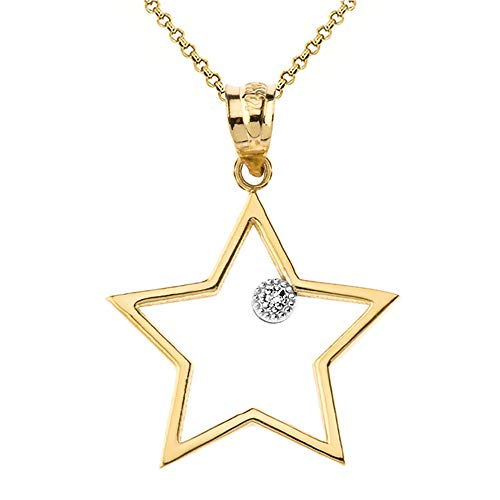 (10k Yellow Gold Solitaire Diamond Outline Star Charm Pendant Necklace, 16