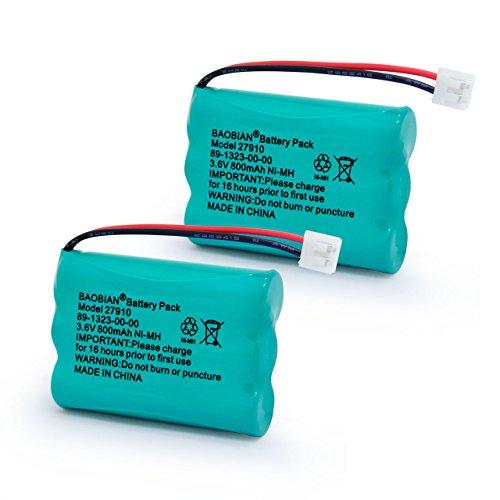 BAOBIAN SD-7501 27910 89-1323-00-00 Cordless Phone Battery 3.6V 800mAh Ni-MH Compatible with Motorola MD7161 AT&T E1112 E2801 TL72108 Vtech I6725 RadioShack 23-959 (2 Pack) (Battery Pack 89 1323 00 00 Model 27910)