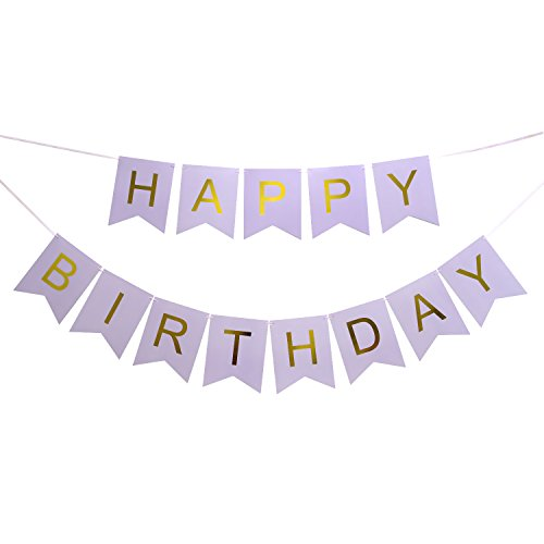 LOVELY BITON Large Purple Happy Birthday Wall Banner, Party Decorations, Versatile, Beautiful, Swallowtail Bunting Flag Garland Surprise Ideas -