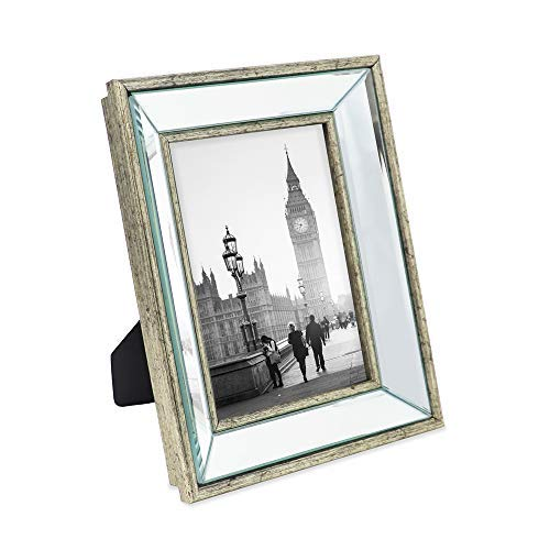 Isaac Jacobs 5x7 Silver Beveled Mirror Picture Frame - Classic Mirrored Frame with Deep Slanted Angle Made for Wall Décor Display, Photo Gallery and Wall Art (5x7, Silver)
