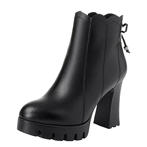 Dethan Genuine cloth Ankle Black Heel High Leather Toe Chunky Women's Lining Boots Round Bootie rpxHqrn