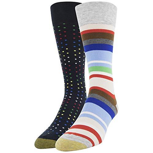 Gold Toe Men's Dress Crew Socks, 2 Pairs, Light Grey Stripes/Midnight Mini Dot Shoe Size: 6-12.5 ()