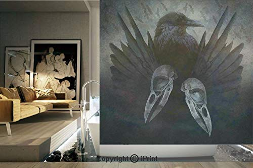 (Ylljy00 Decorative Privacy Window Film/Crow Spirit Wings Haunting Magic Mysticism Dark Shadowy Occult Art Print Decorative/No-Glue Self Static Cling for Home Bedroom Bathroom Kitchen Office Decor)