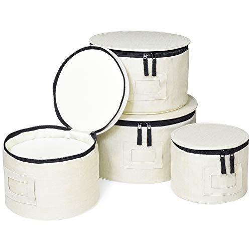 China Storage Organizer, 4pcs Set for Plates and Bowls, Padded with Solid Bottom (Cream)