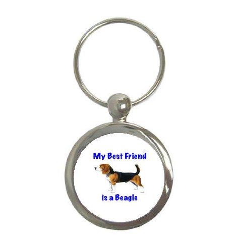My Best Friend is Beagle Round Keychain ()