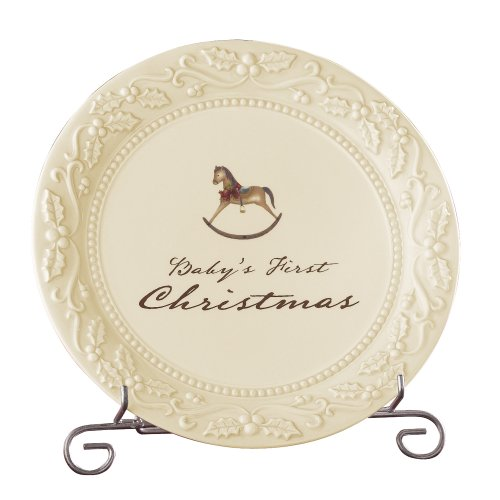 Christmas First Plate (Grasslands Road Good Tidings 8-Inch Round Baby's First Christmas Plate with Stand)
