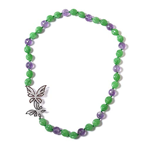 Butterfly Bead Strand Necklace 925 Sterling Silver Green Jade Amethyst Jewelry for Women Size 24