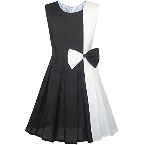 Sunny Fashion KM81 Girls Dress Color Block Contrast White Black Bow Tie Size 4