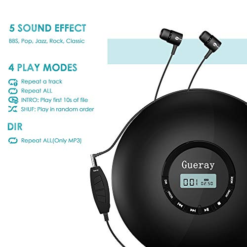 Portable CD Player 1400mAh CD Walkman Rechargeable CD Player Portable Gueray CD Discman Personal CD Player with Headphones Jack USB Supply CD Music Disc with LCD Display (Black) by Gueray (Image #2)