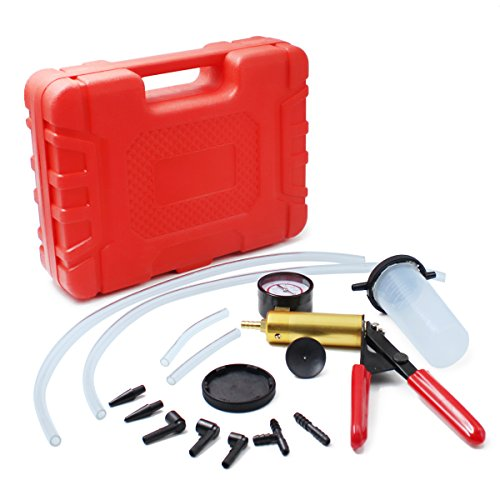 HTOMT 2 in 1 Brake Bleeder Kit Hand held Vacuum Pump Test Set for Automotive with Sponge Protected Case,Adapters,One-Man Brake and Clutch Bleeding System ()