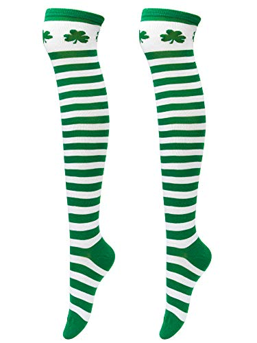Elcoho St Patrick's Day Shamrocks Socks Over Knee Thigh Striped Stockings for Saint Patrick Party Costume