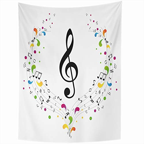(Ahawoso Tapestry 50x60 Inch Ornate Key Music Treble Clef Notes Curve Color Sound Flower Staff Paintings Wall Hanging Home Decor for Living Room Bedroom Dorm )
