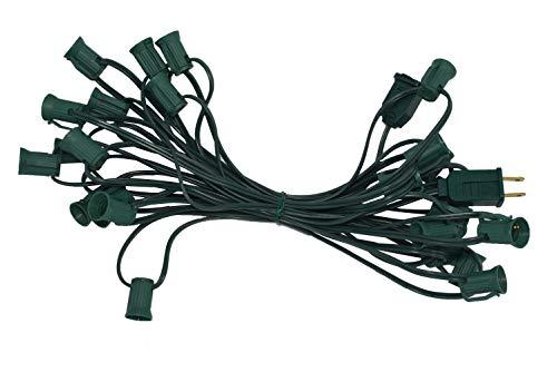 MULTI-SPARKING Christmas 26FT Light Stringer, Outlet 25 Foot C7 Light Strand, SPT-1 Green Cord, 12 Socket Spacing, E12 Christmas Stringer