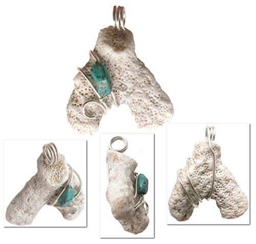 - Rare Natural White Coral with Turquoise Nugget Wire Wrapped Pendant Bead Neckace on Leather Cord