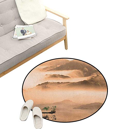Art Custom Round Carpet ,Chinese Lake Landscape Before Majestic Foggy Mountains in Mist Clouds Dramatic Hill View, Dorm Room Bedroom Home Decorative 39