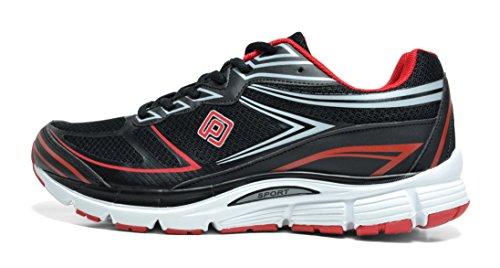 TRAUM-PAAR-Männer athletische laufende Schuhe Turnschuhe Schwarz Rot Silber