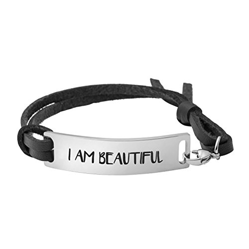 Yiyang Gift for Her Inspirational Leather Bracelet Mother's Day Jewelllery for Women I Am Beautiful ()